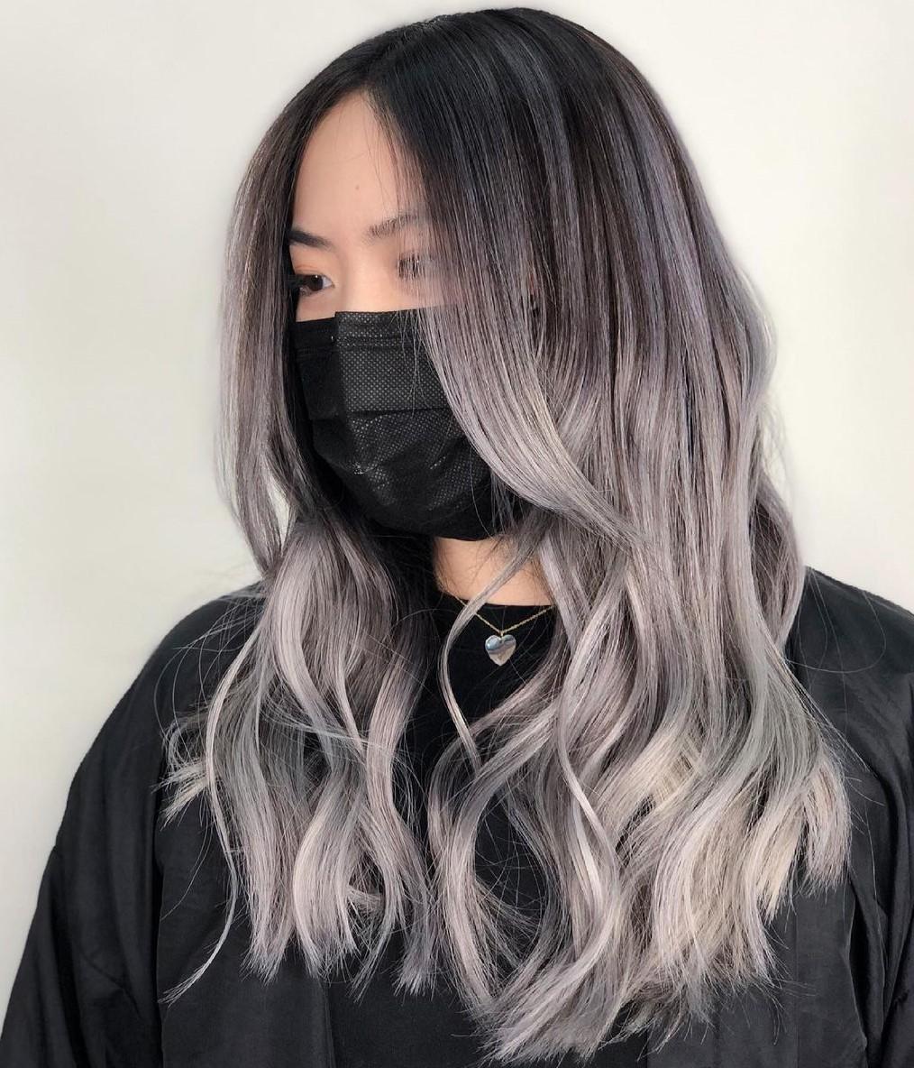 Silver Balayage for Natural Brown Hair Color