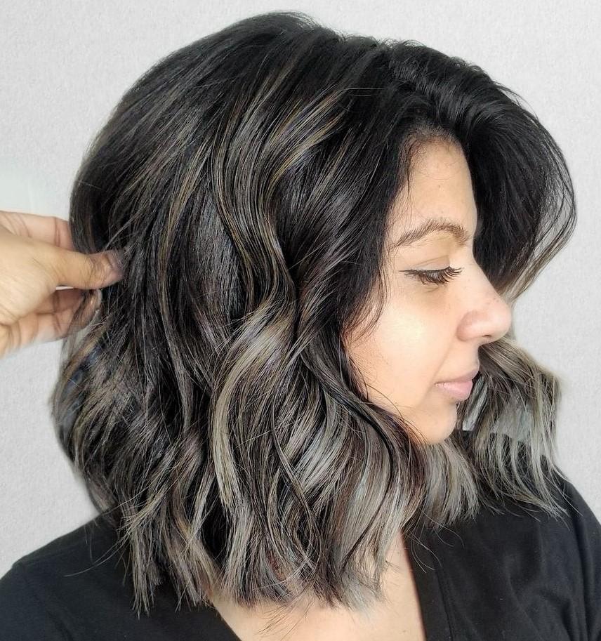 Shoulder-Length Dark Hair with Gray Highlights