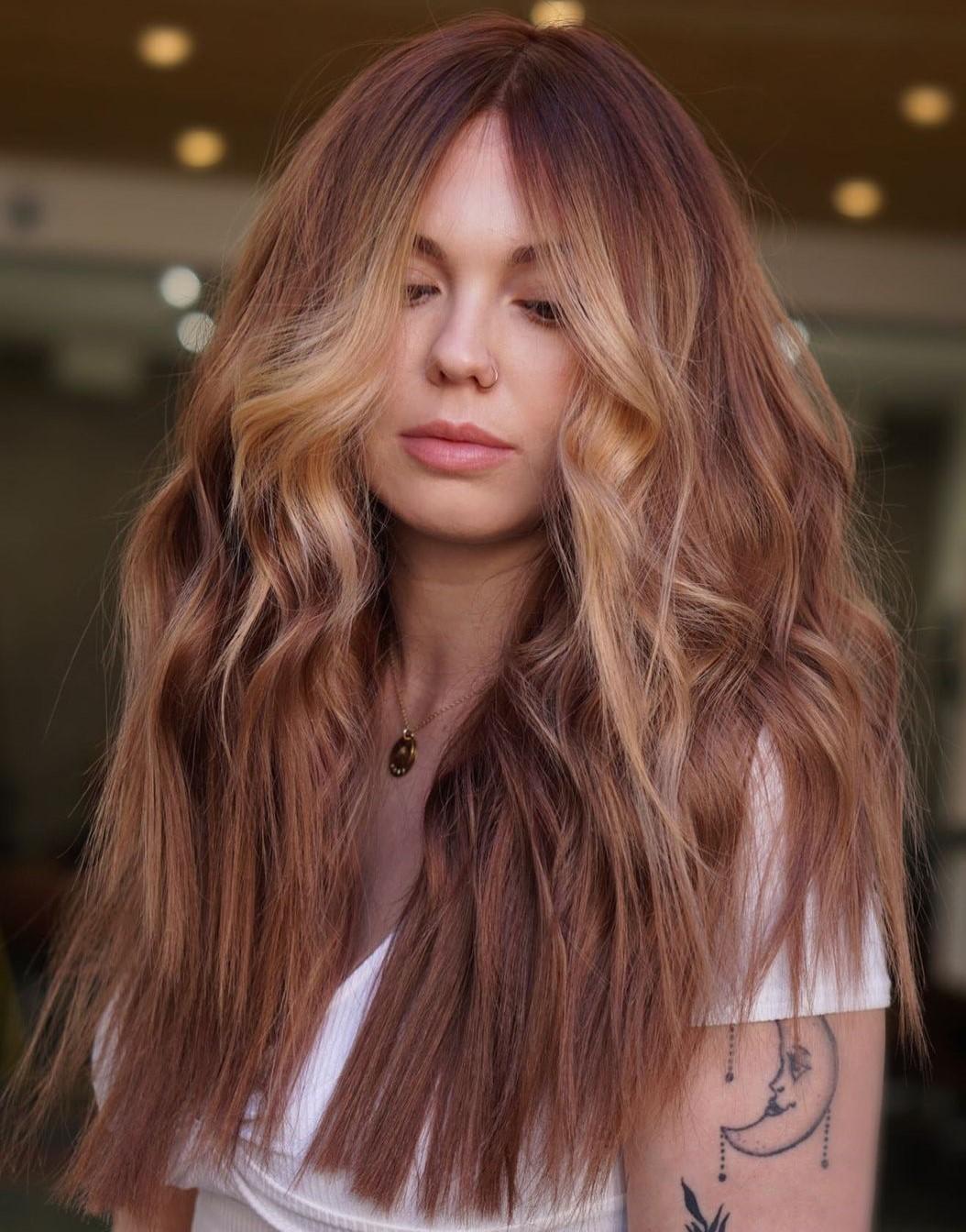 Blonde Face-Framing Highlights for Auburn Hair
