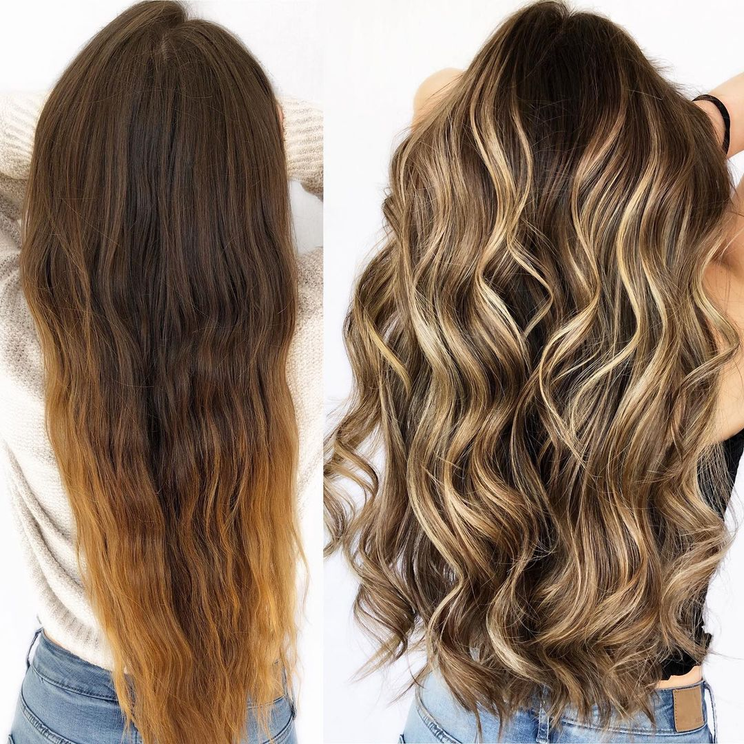 Gorgeous Brunette Hair with Blonde Highlights