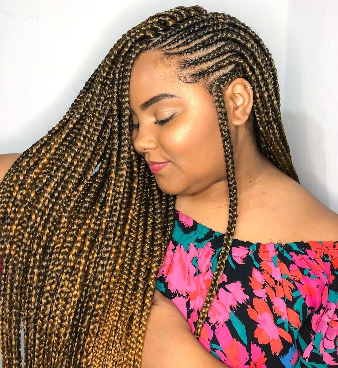 Ghanaian Cornrow Braids with Blonde Highlights