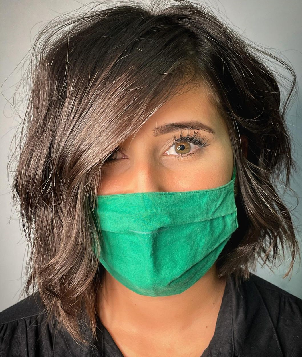 Easy Asymmetrical Bob with Scrunched Waves