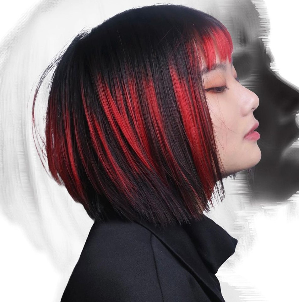 Red Hair Highlights for Short Black Hair