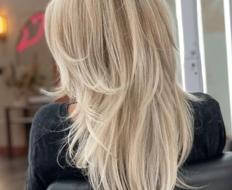 Blonde V Cut with Wispy Layers and Bangs