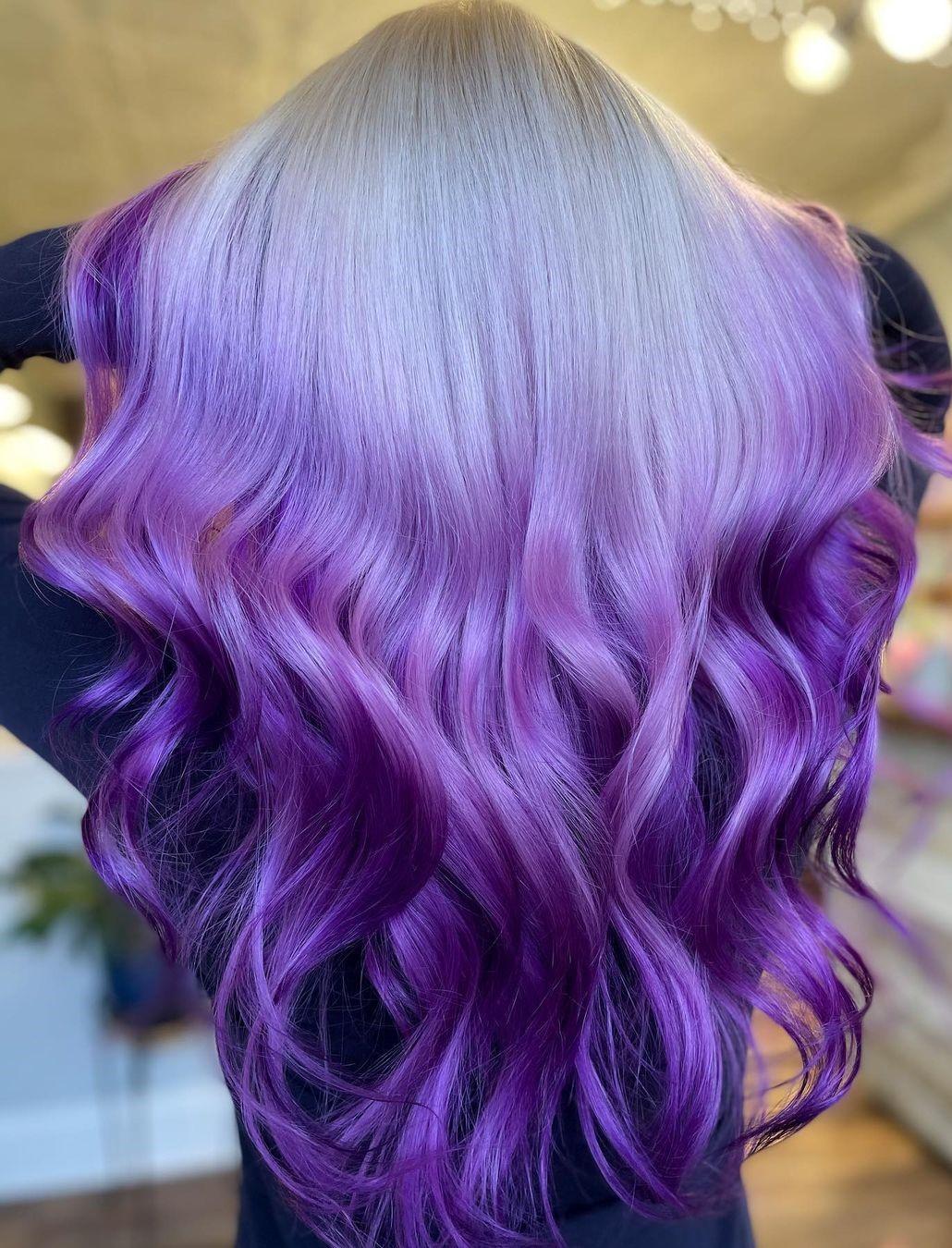 White to Purple Balayage Highlights