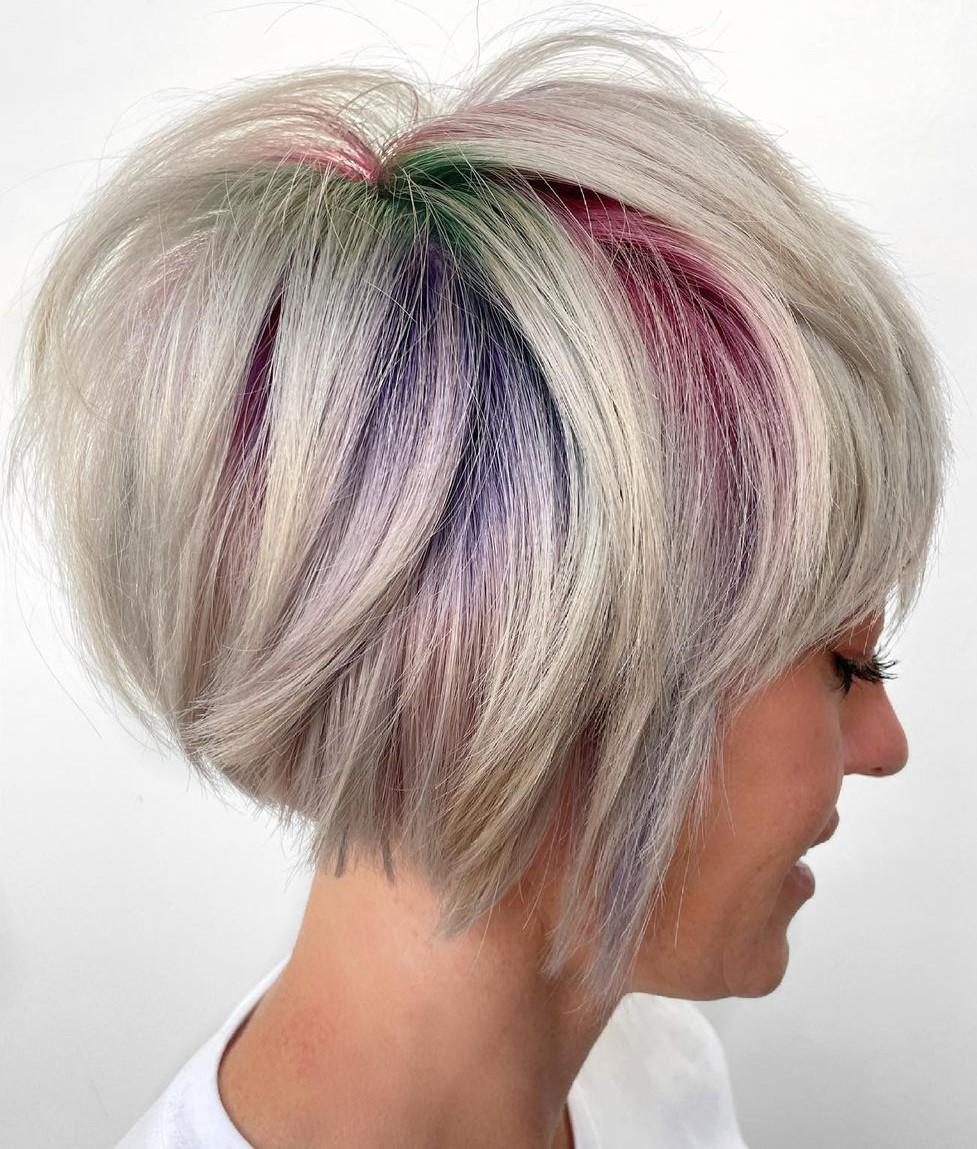 Platinum Pixie Cut with Rainbow Highlights