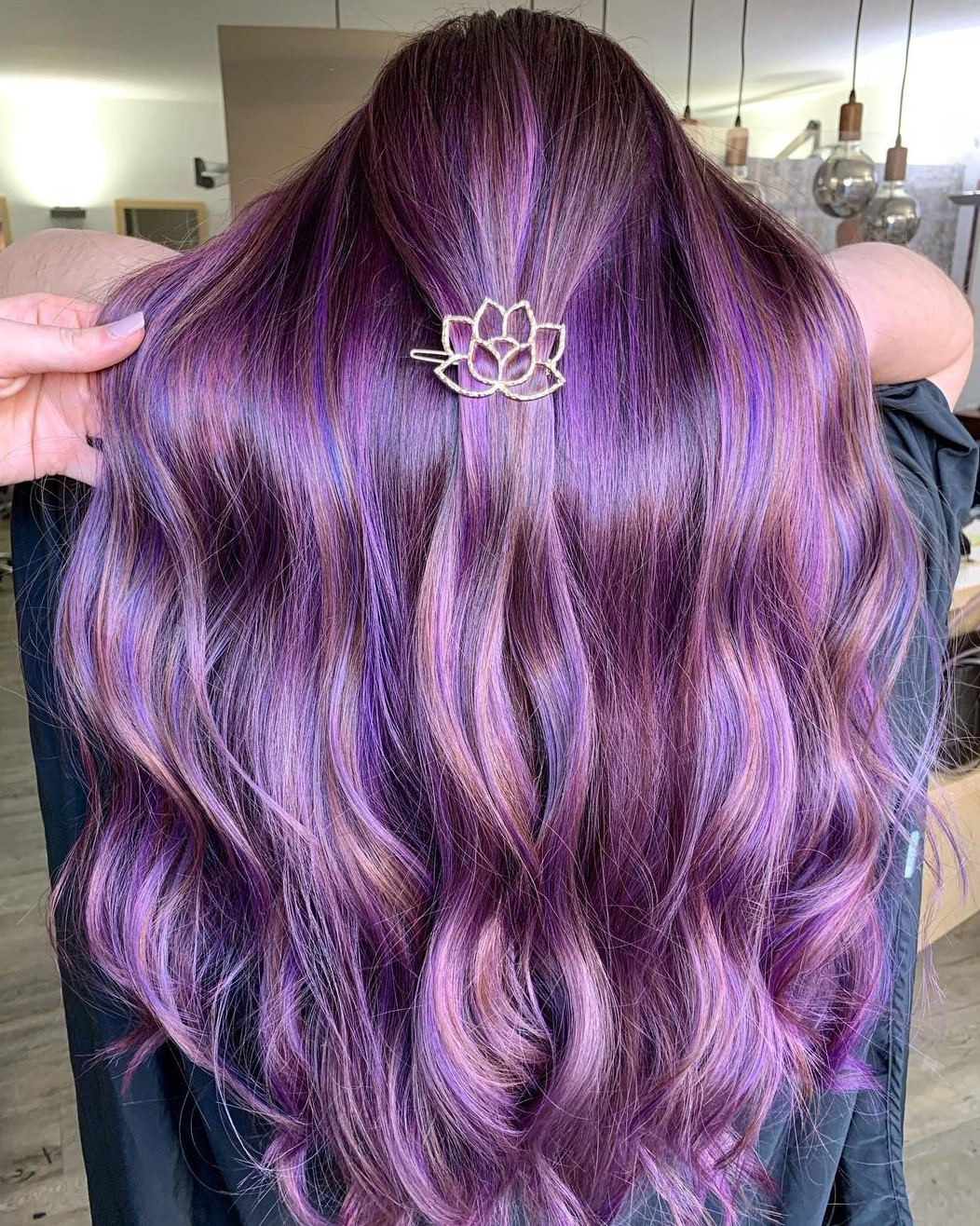Warm Brown Hair with Purple Highlights