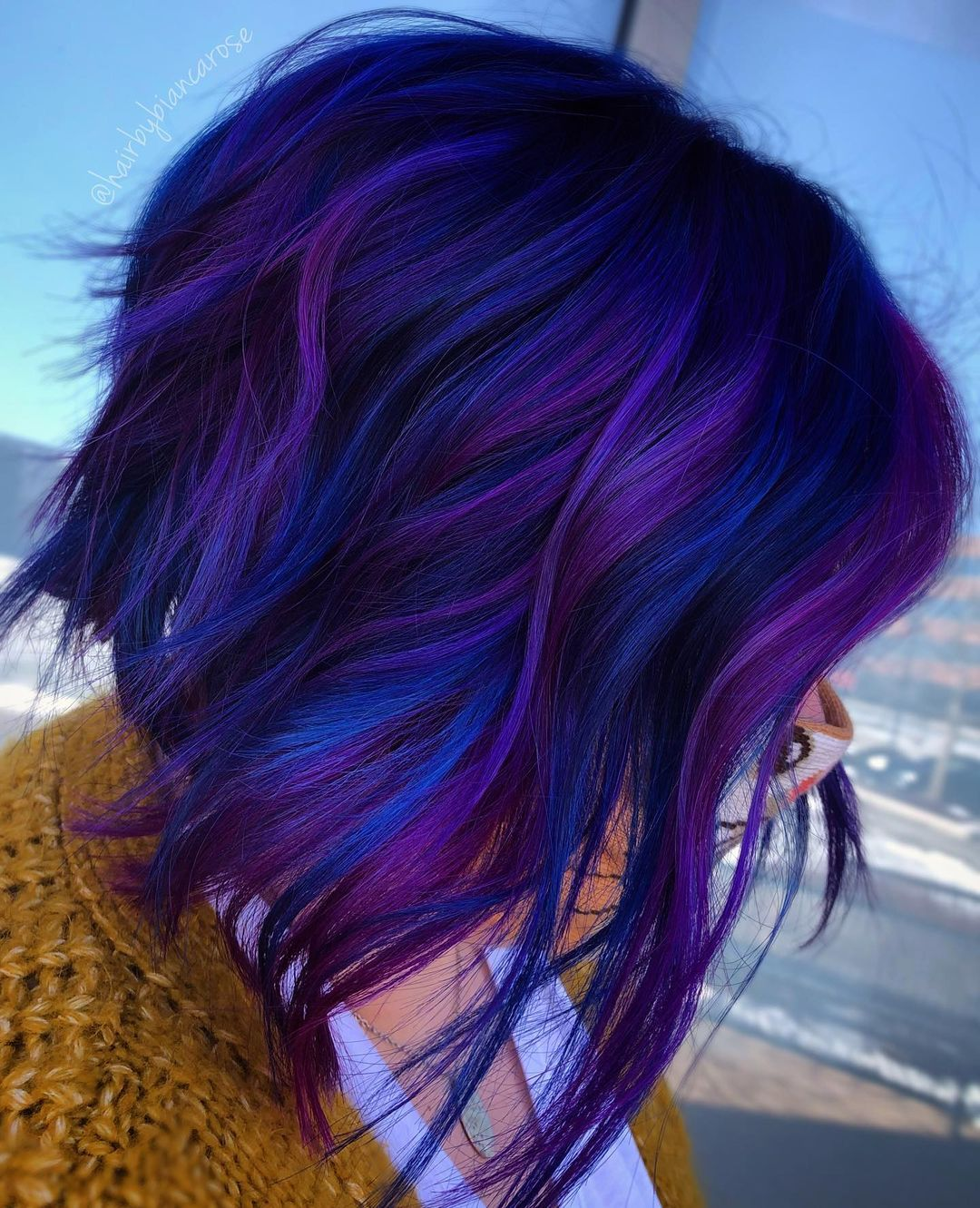 Purple and Blue Highlights on Short Hair