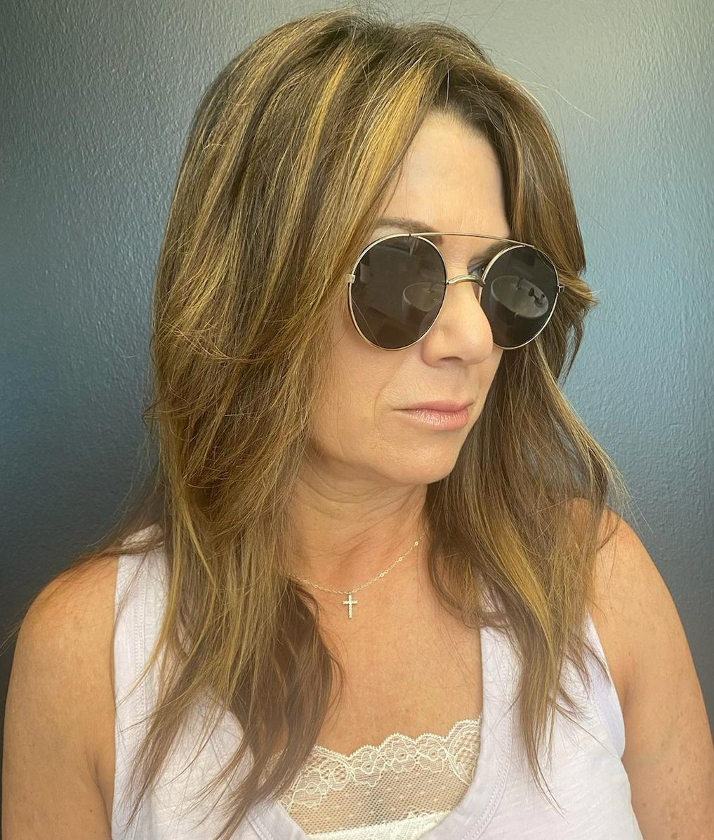 50+ Long Layered Hairstyle with Glasses