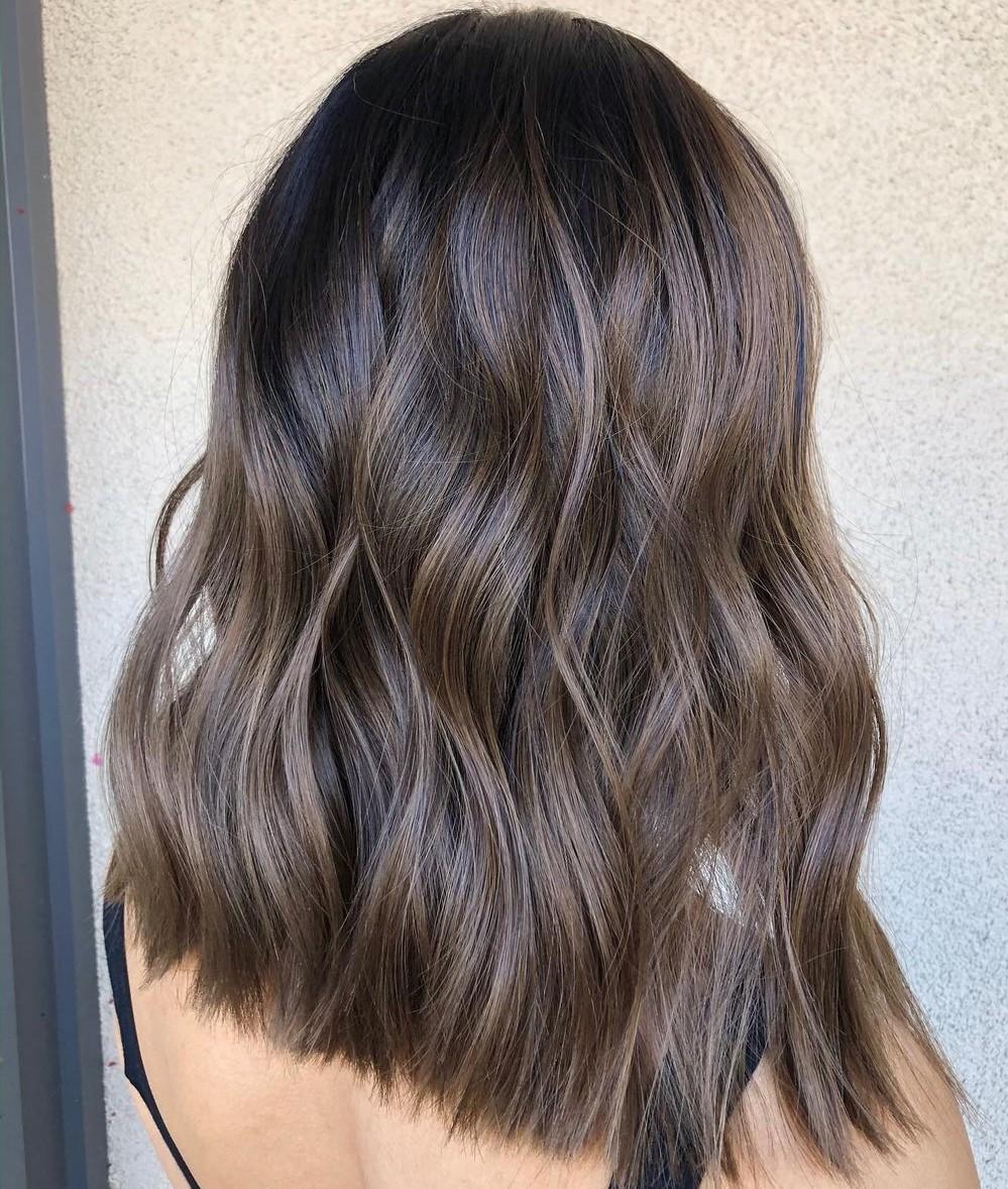 Ashy Mushroom Highlights and Lowlights on Hair