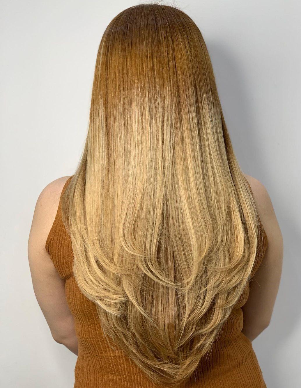 Golden Blonde Root Fade for V-Cut