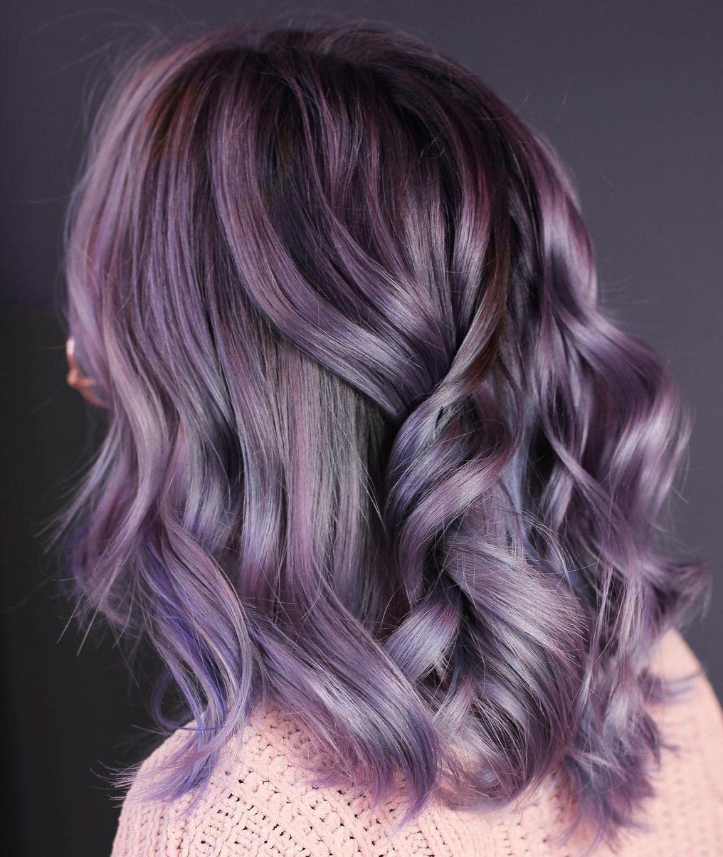 Vibrant Mauve Highlights for Dark Hair