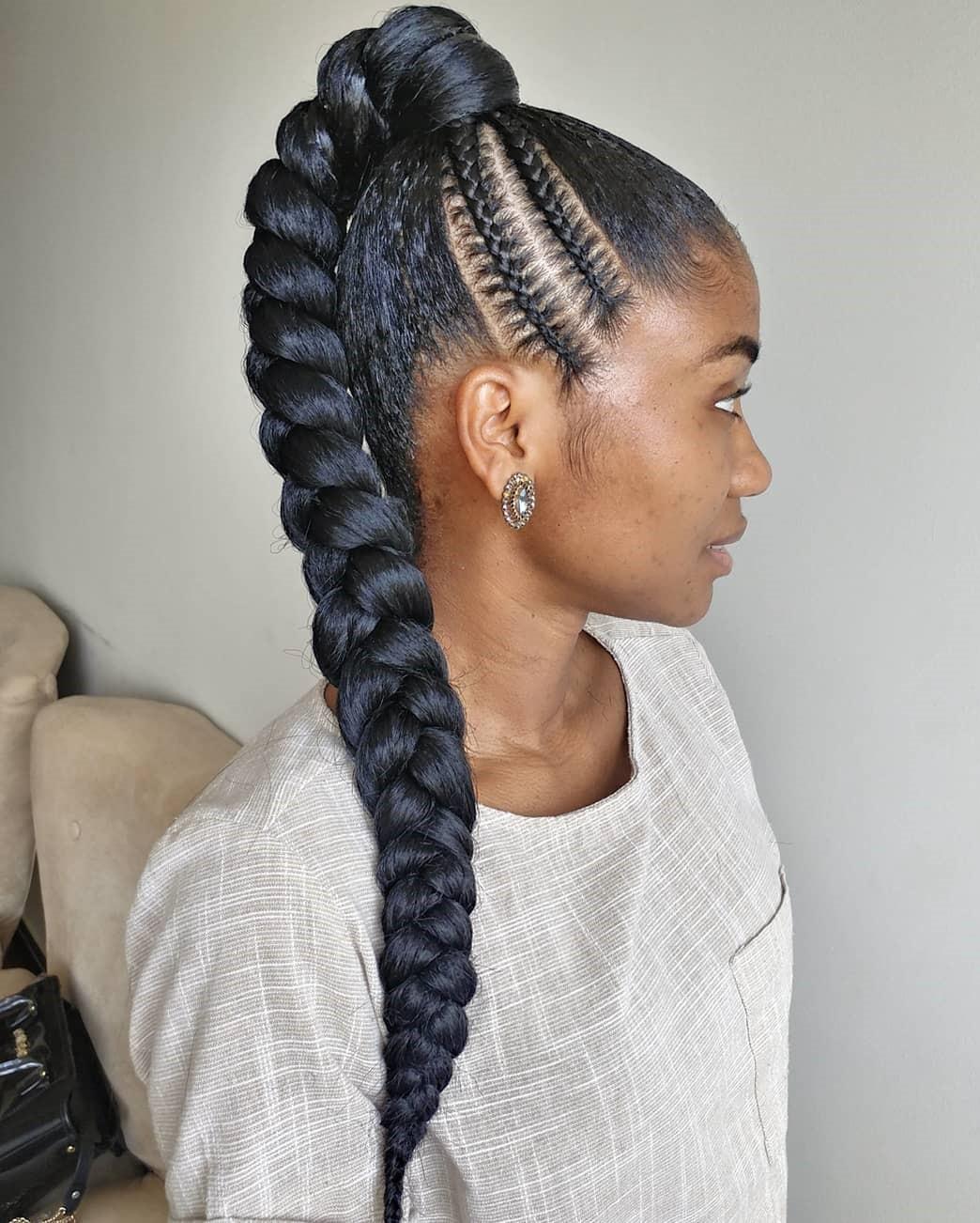 Braided Ponytail with Ghana Braid Detail