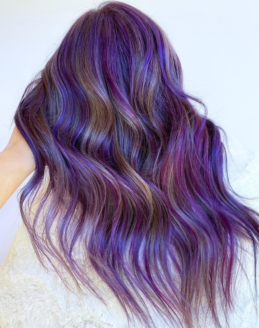 Bronze and Purple Hair Highlights