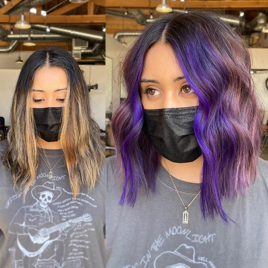 Purple Highlights for Medium Hair