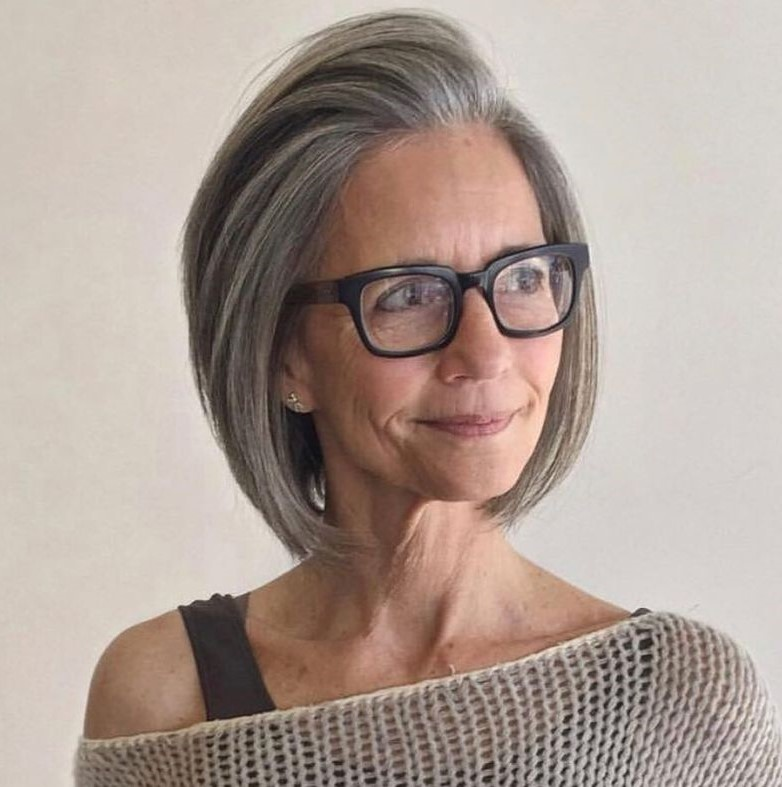 A-Line Bob with Glasses Over 50