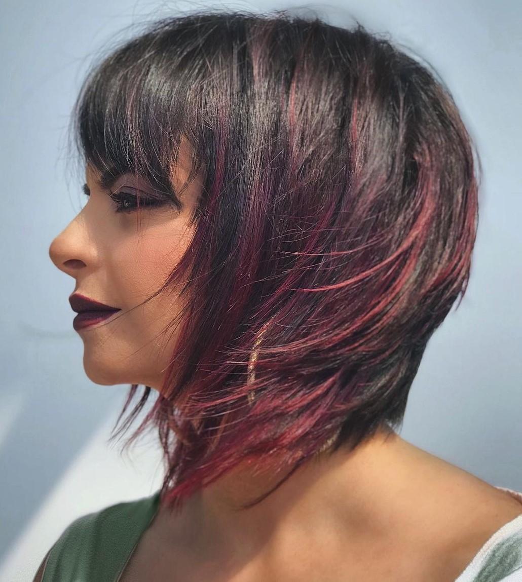 Plum Highlights for Dark Short Hair