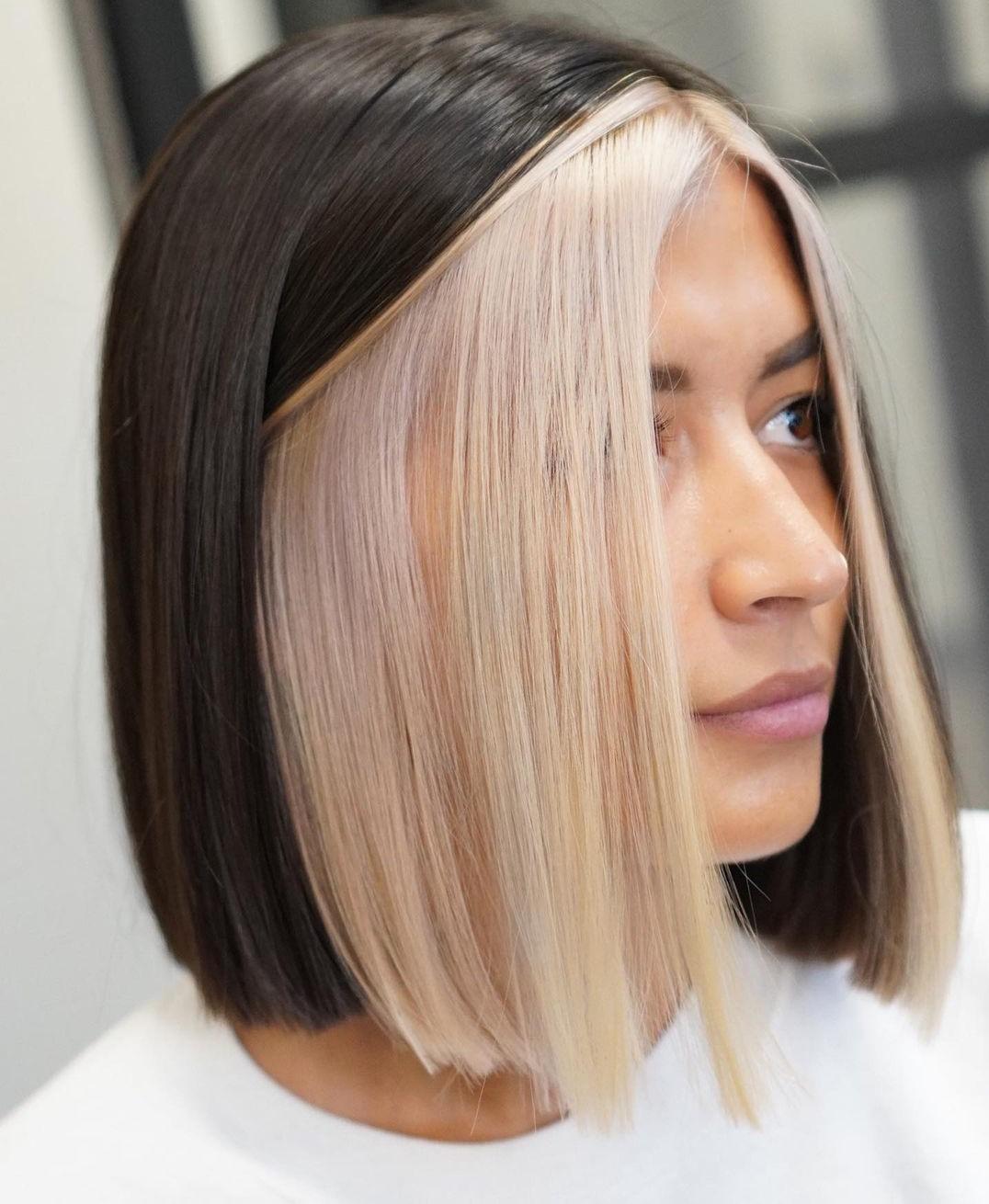 Blonde Peekaboo Highlights for Lob