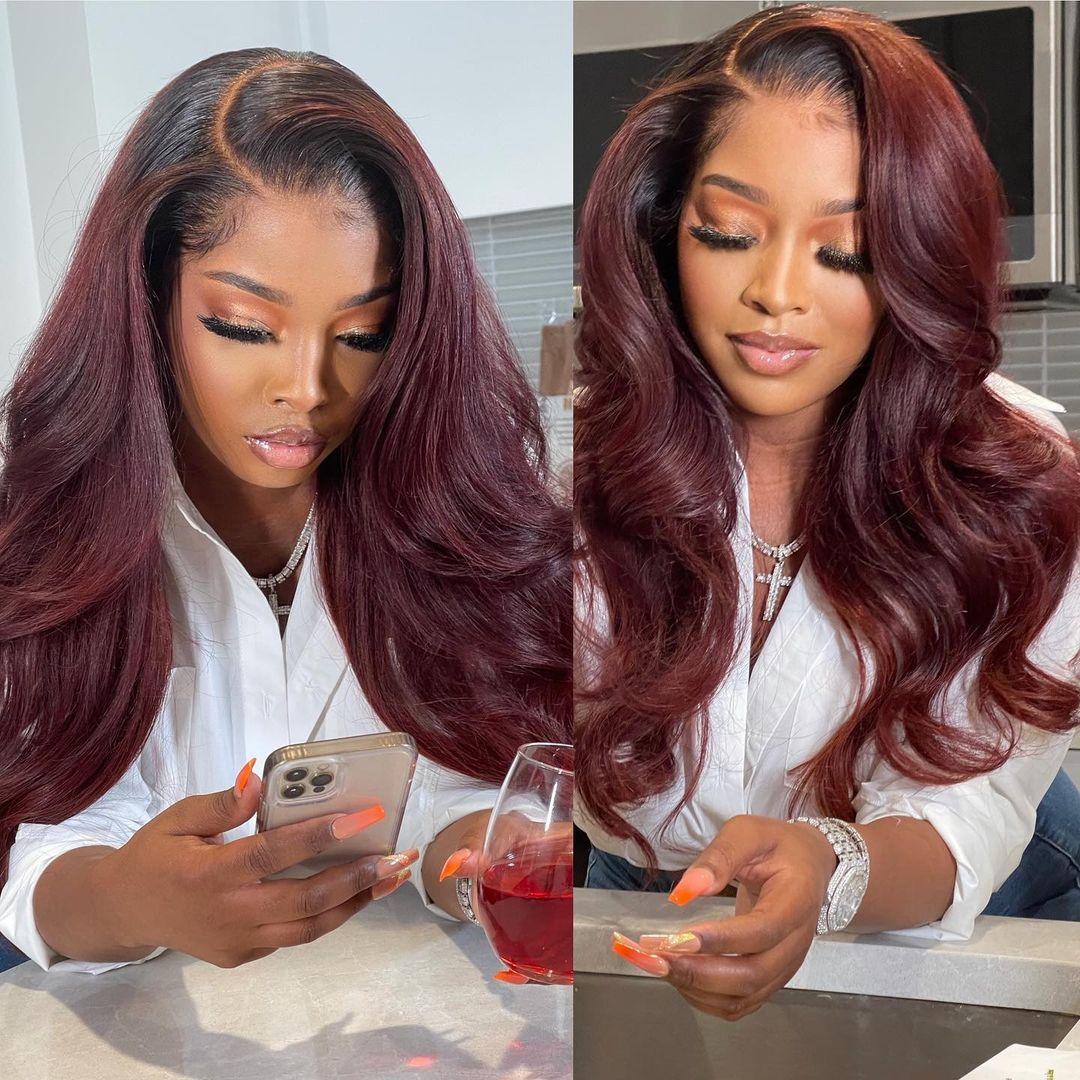 2021 Burgundy Weave Hairstyle