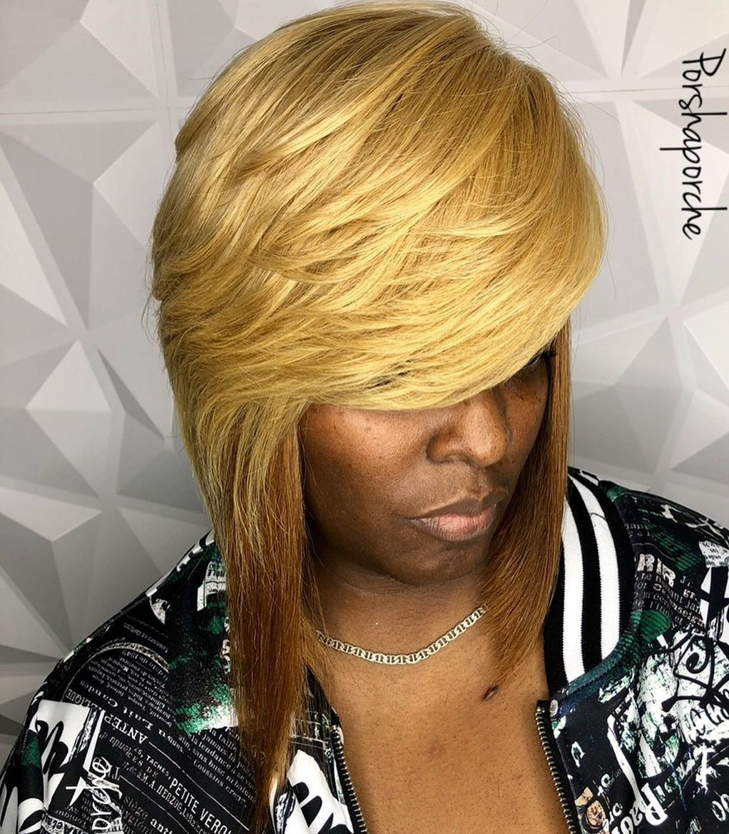 Bold Blonde Bob Weave with Layers