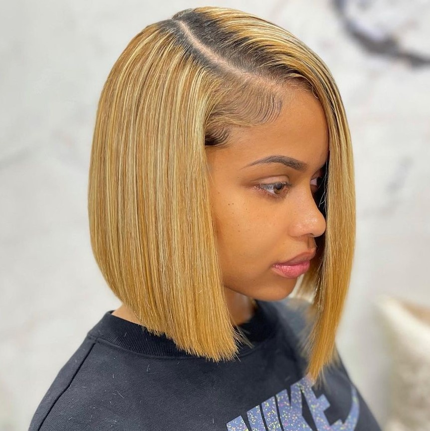 Bob Weave with a Side Part