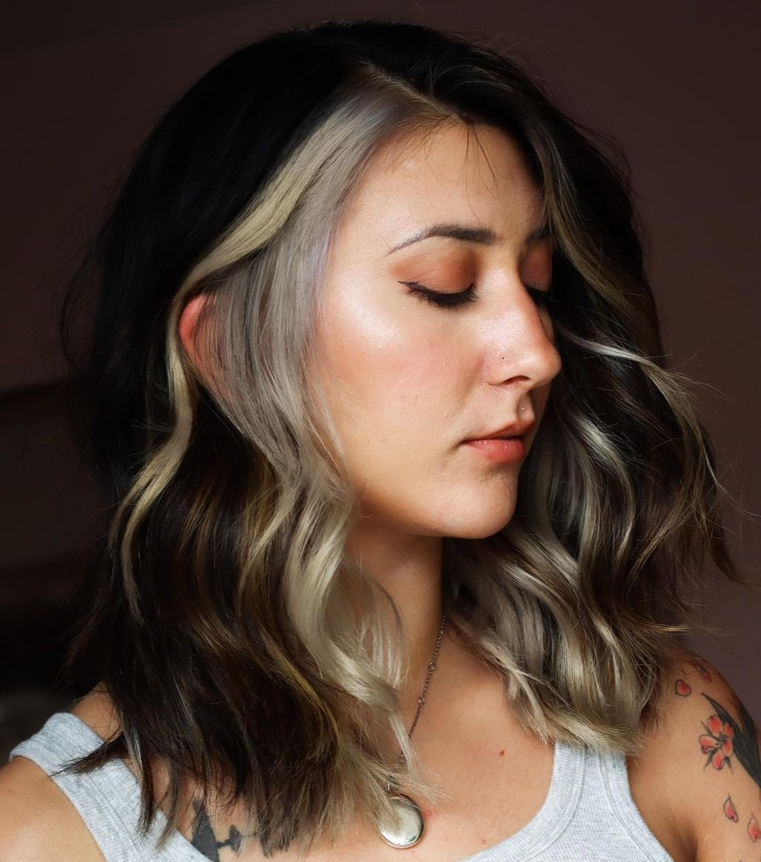 Medium Wavy Hair with Peekaboo Highlights
