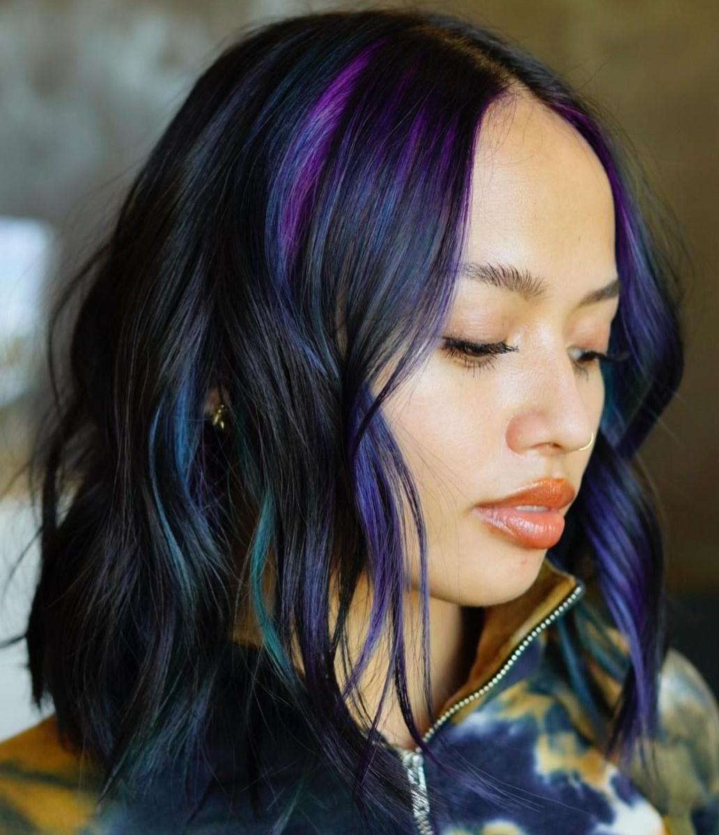 Dark Hair with Blue and Purple Peek-a-Boo Highlights