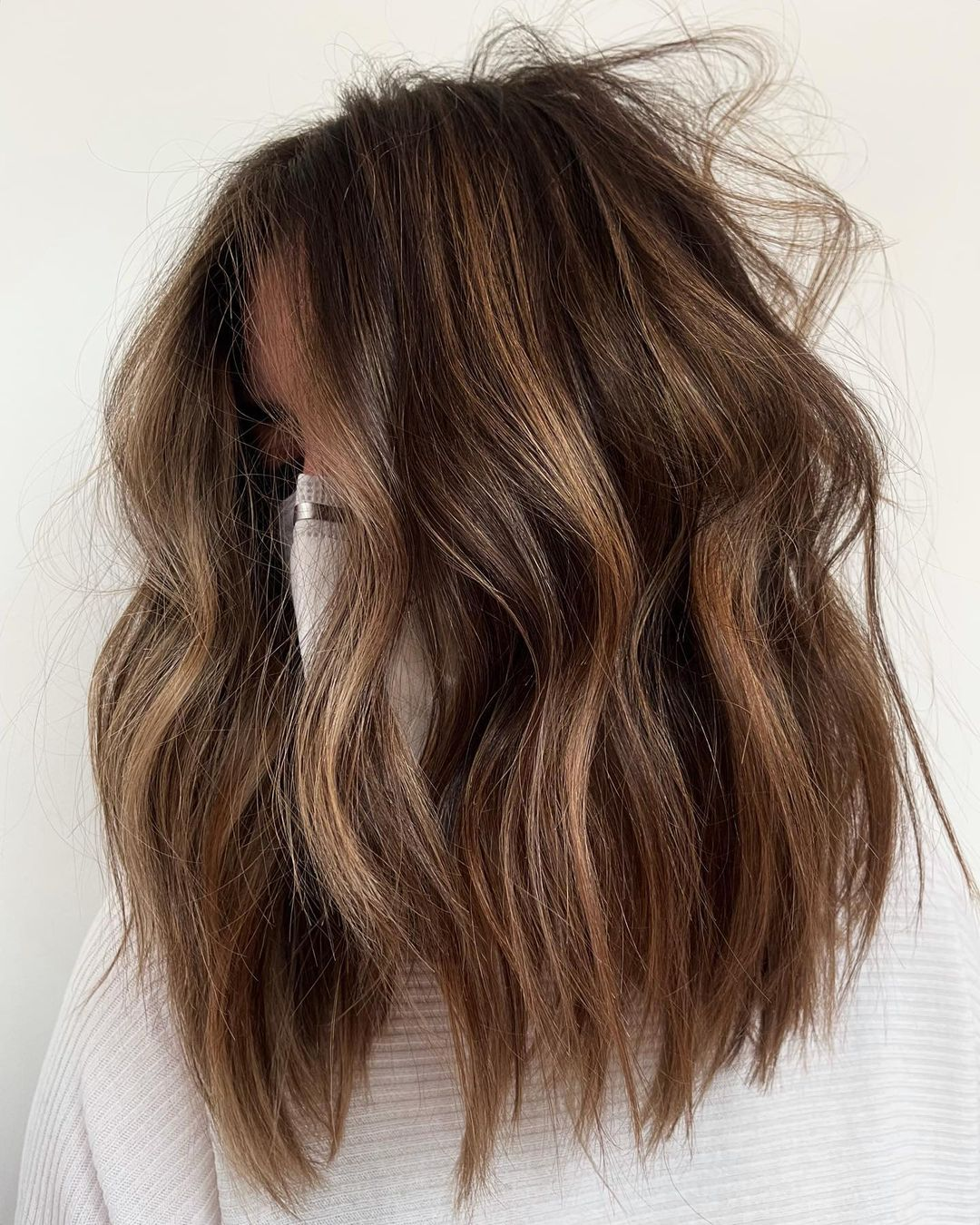 Messy Brown Hair with Partial Balayage