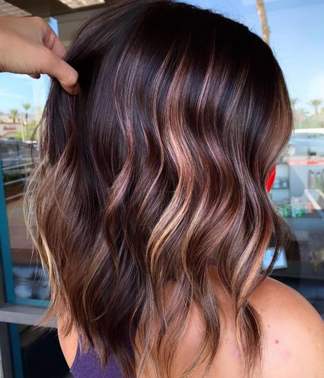 Dark Hair with Strawberry Blonde Highlights