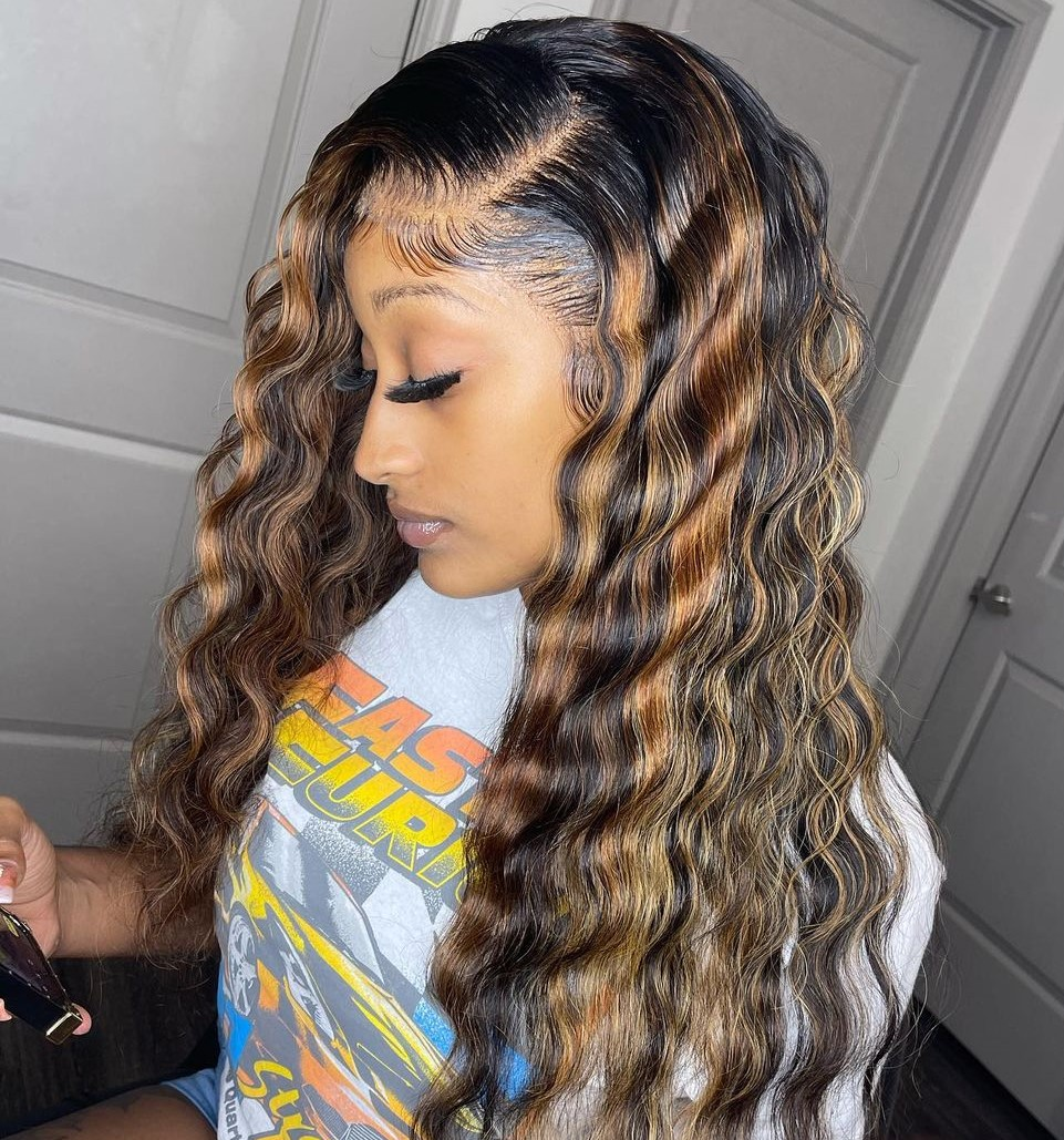 Long Sew In Waves with Highlights