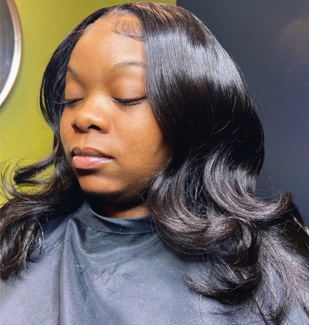 Sleek L Part Sew In Hairstyle