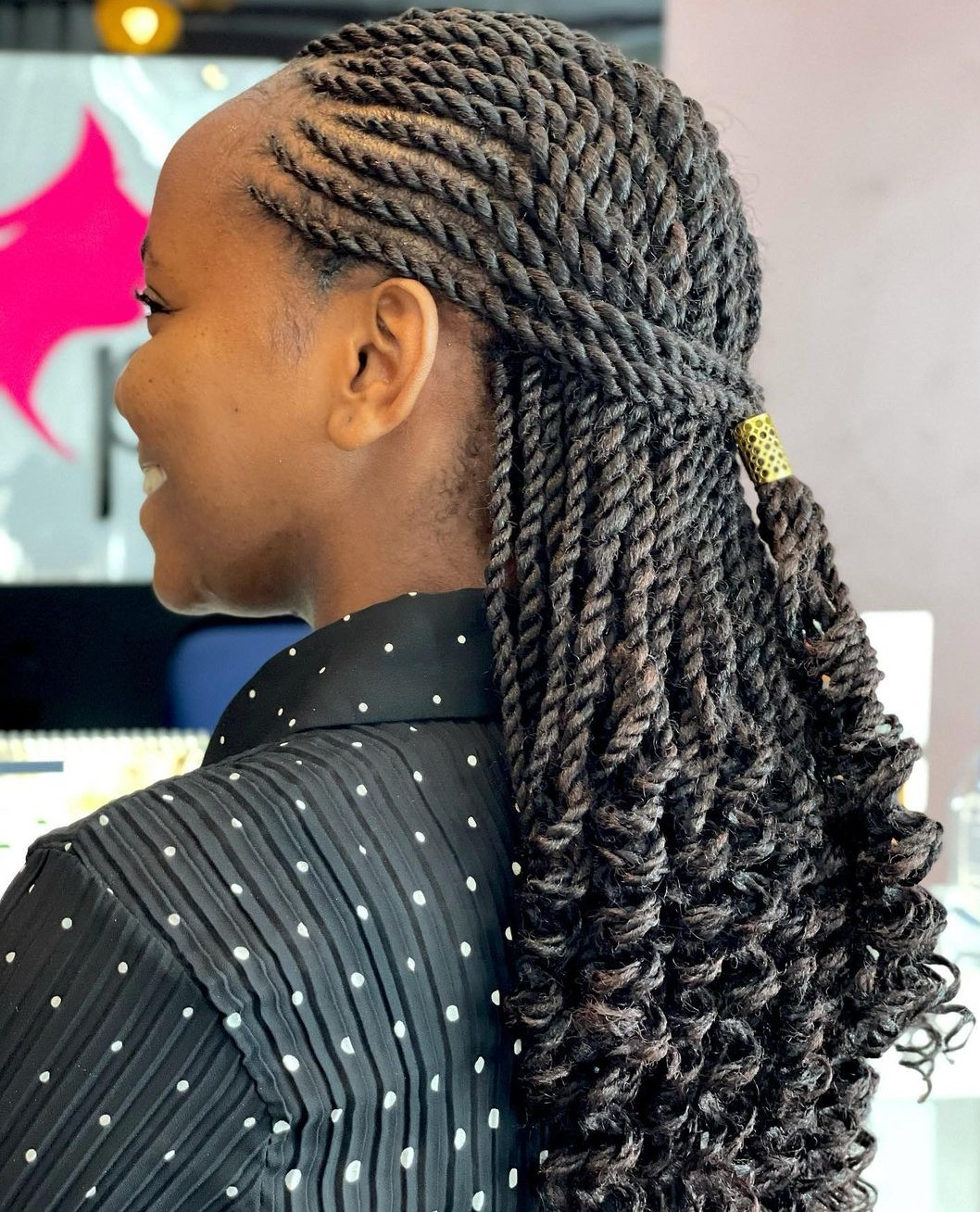 Twisted Cornrows and Curly Twists