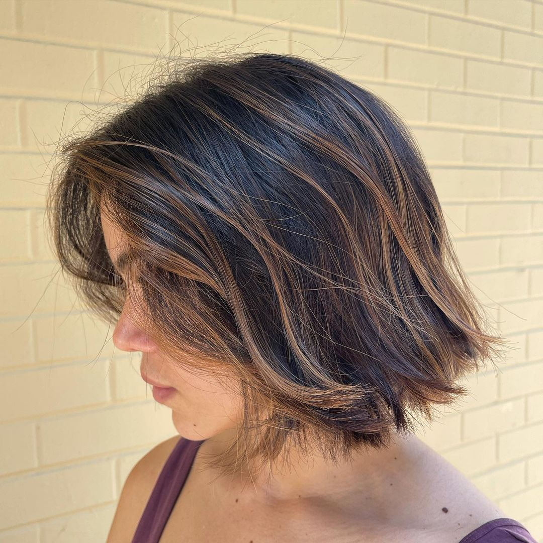Short Dark Brown Hair with Cinnamon Balayage