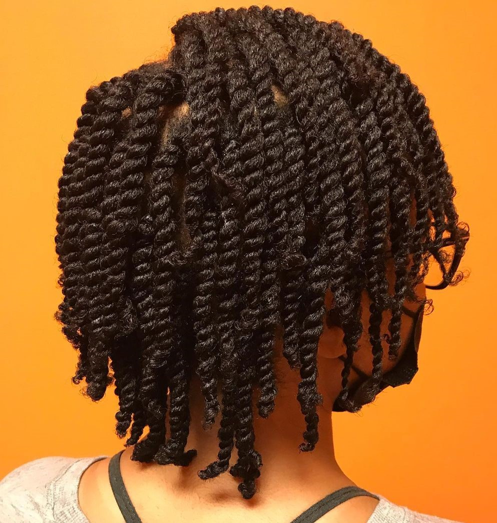 Short Layered Kinky Twist Hairstyle