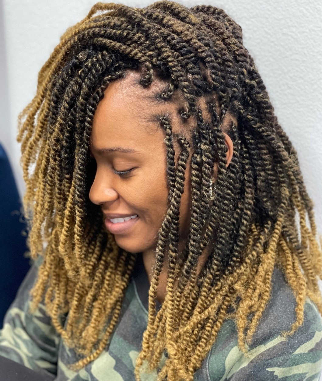 Kinky Twists with Blonde Ombre