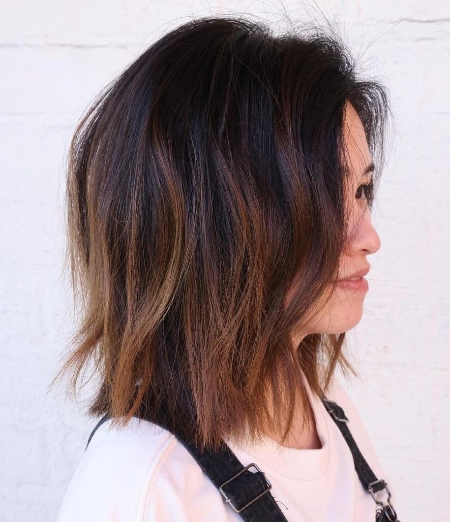 Shoulder-Length Dark Hair with Partial Balayage