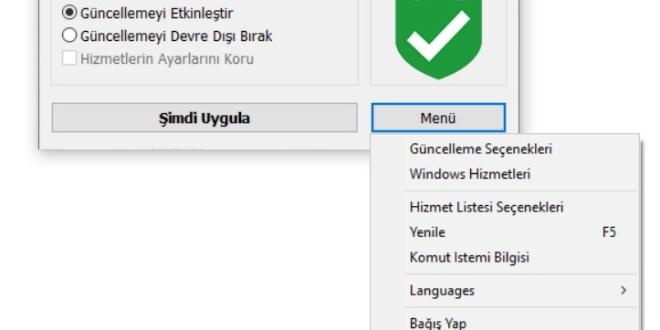 Windows Update hizmetini kalıcı olarak devre dışı bırakma Programı
