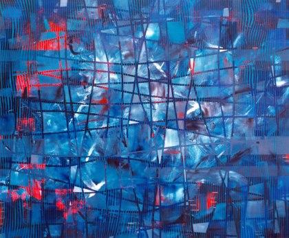 Intento de equilibrio temporal VIII. Óleo sobre lienzo, 200x200. 1997.