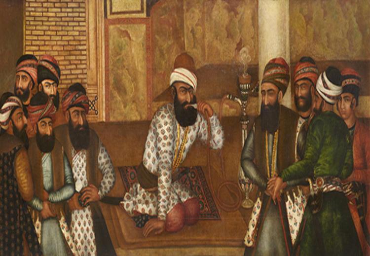 """صورة للشاه الفارسي """"كريم خان"""" وهو يدخن الشيشة في البلاط الملكي بشيراز - عام 1755"""