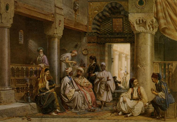 لوحة من العام 1871  للفنان كارل فيرنر يصوّر فيها أحد المقاهي في القاهرة المخصصة لتدخين الشيشة