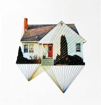 Rising, lonely house, 2013, embroidery on paper