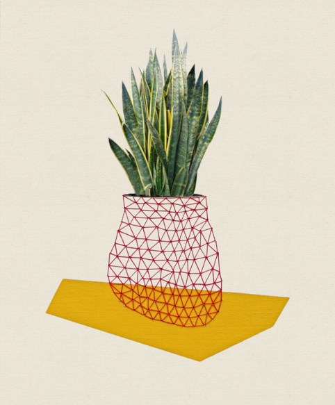 Sold. Home Plant Yellow, 2013, embroidery on paper