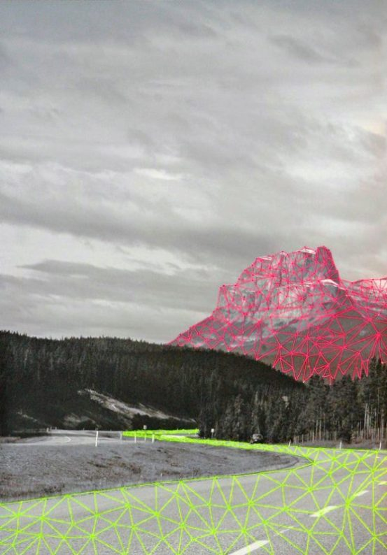 Sold. Pink mountain, 2013, embroidery on paper