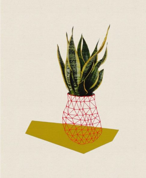 Sold. Home Plant Green, 2013, embroidery on paper
