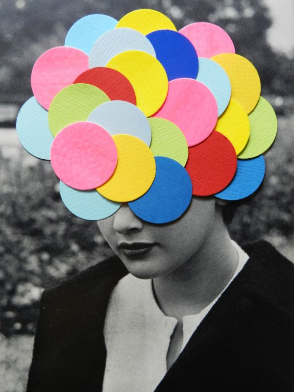 Going in circles, Hand made collage on paper