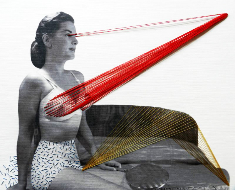 Straight ahead, 2013, threads on paper