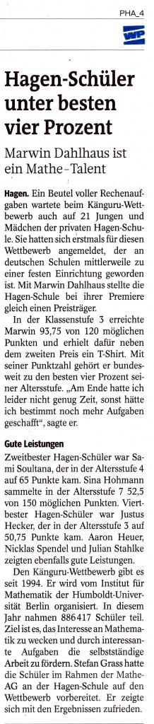 Hagenschule Känguru Westfalenpost Original