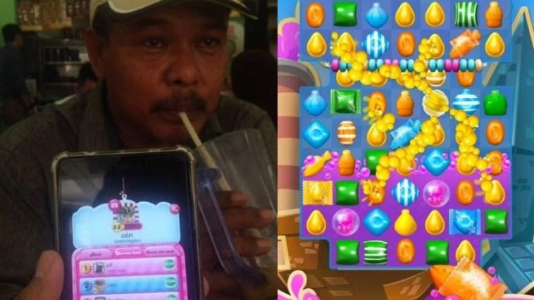 True legend, bapak di Malaysia ini raih ranking 2 game Candy Crush, anaknya aja kalah!