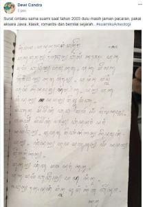 Unik nan romantis, surat cinta ini ditulis pakai aksara Jawa klasik