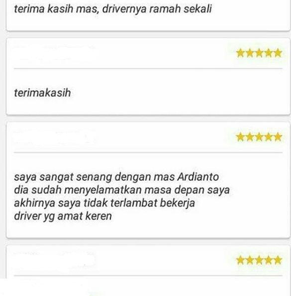 komentar pujian penumpang ojek online ini bikin drivernya klepek-klepek